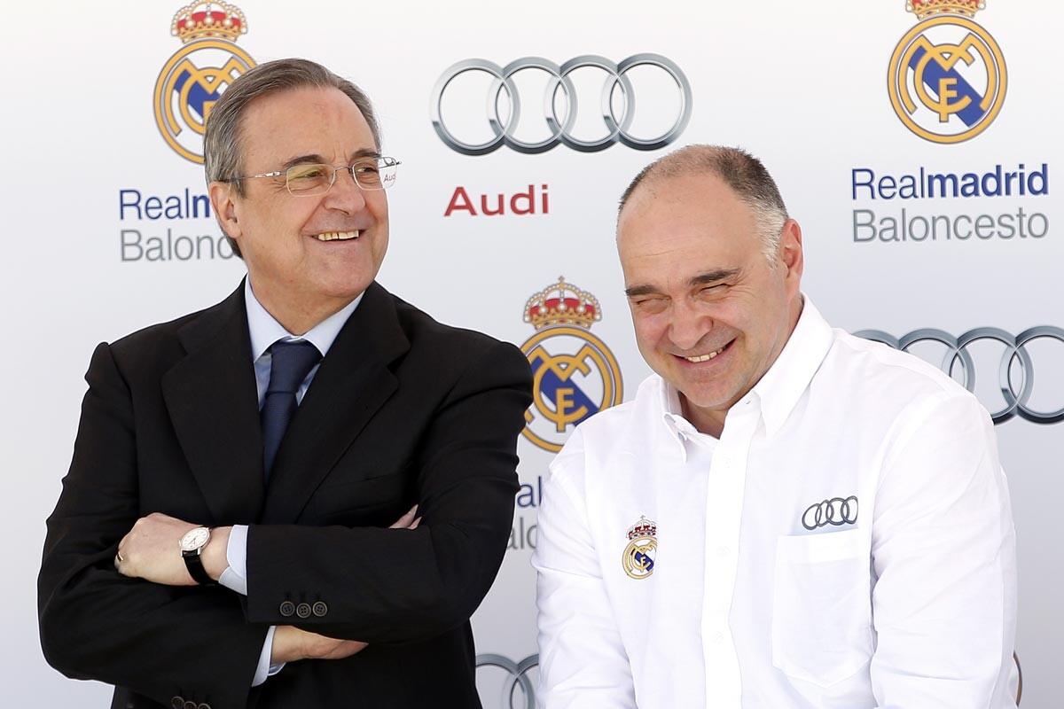 Florentino Pérez y Pablo Laso en un acto promocional