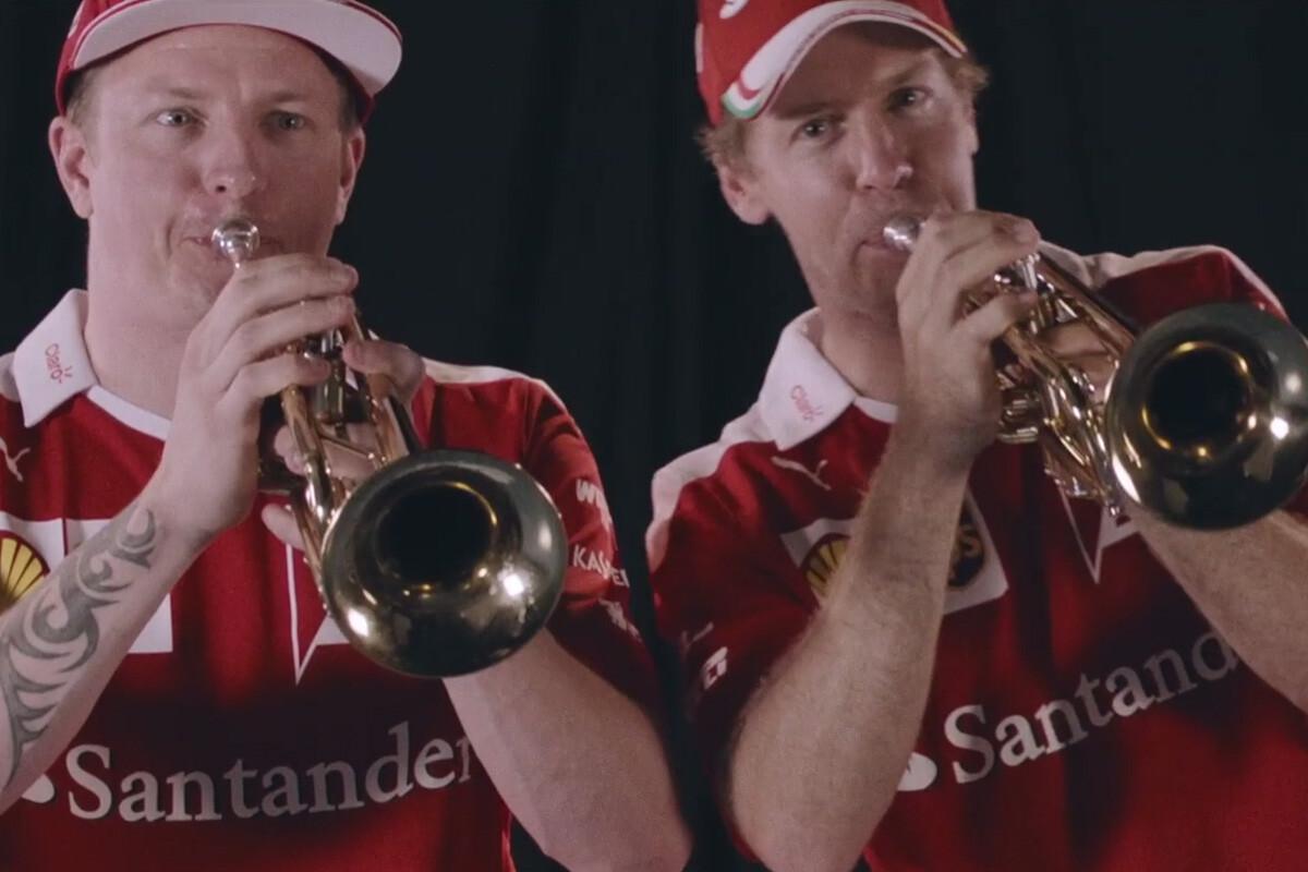 Kimi Raikkonen y Sebastian Vettel con trompetas