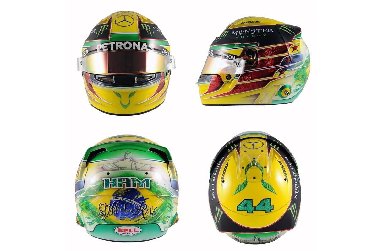 Casco de Senna de Lewis Hamilton