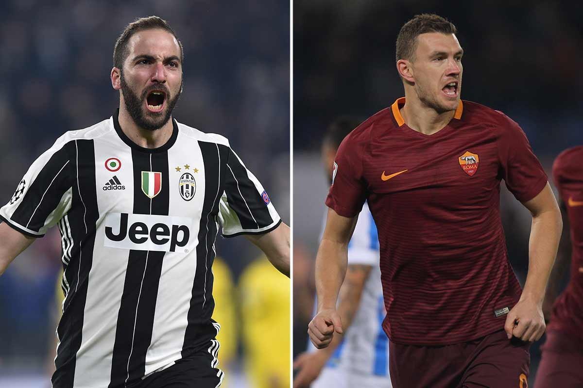 Higuain y Dzeko, delanteros de Juve y Roma