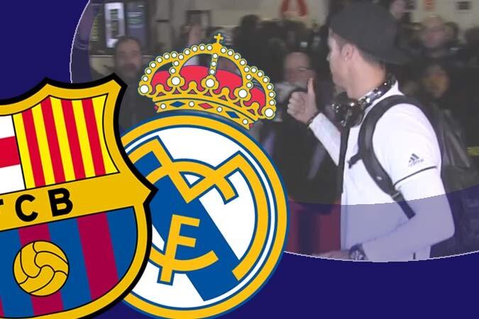 Locura y cánticos contra el Barça en la llegada del Madrid