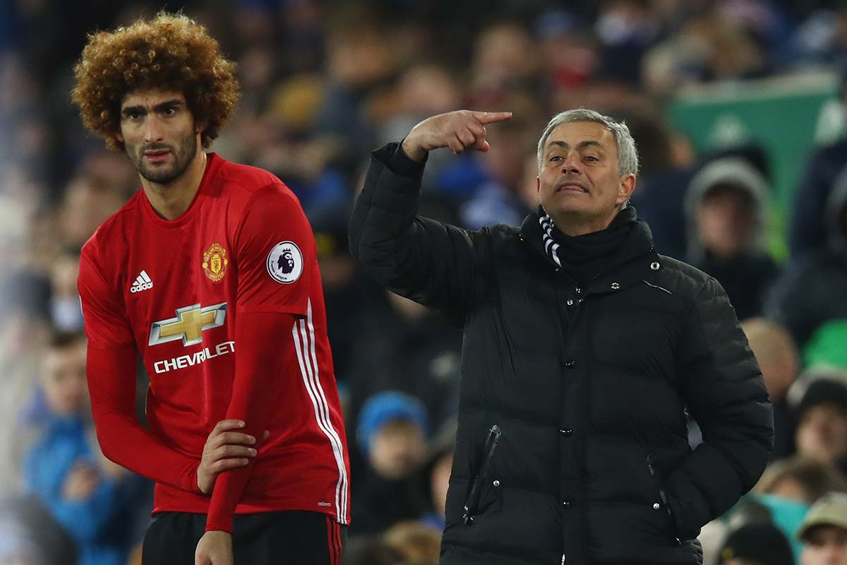 Fellaini y Mourinho, del Manchester United