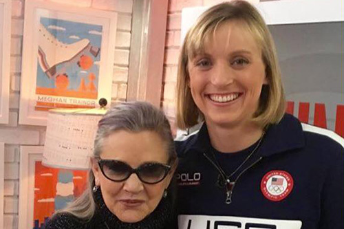 Katie Ledecky y Carrie Fisher