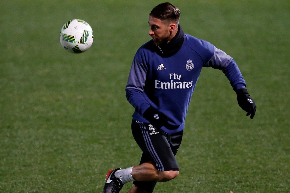 Sergio Ramos en un entrenamiento