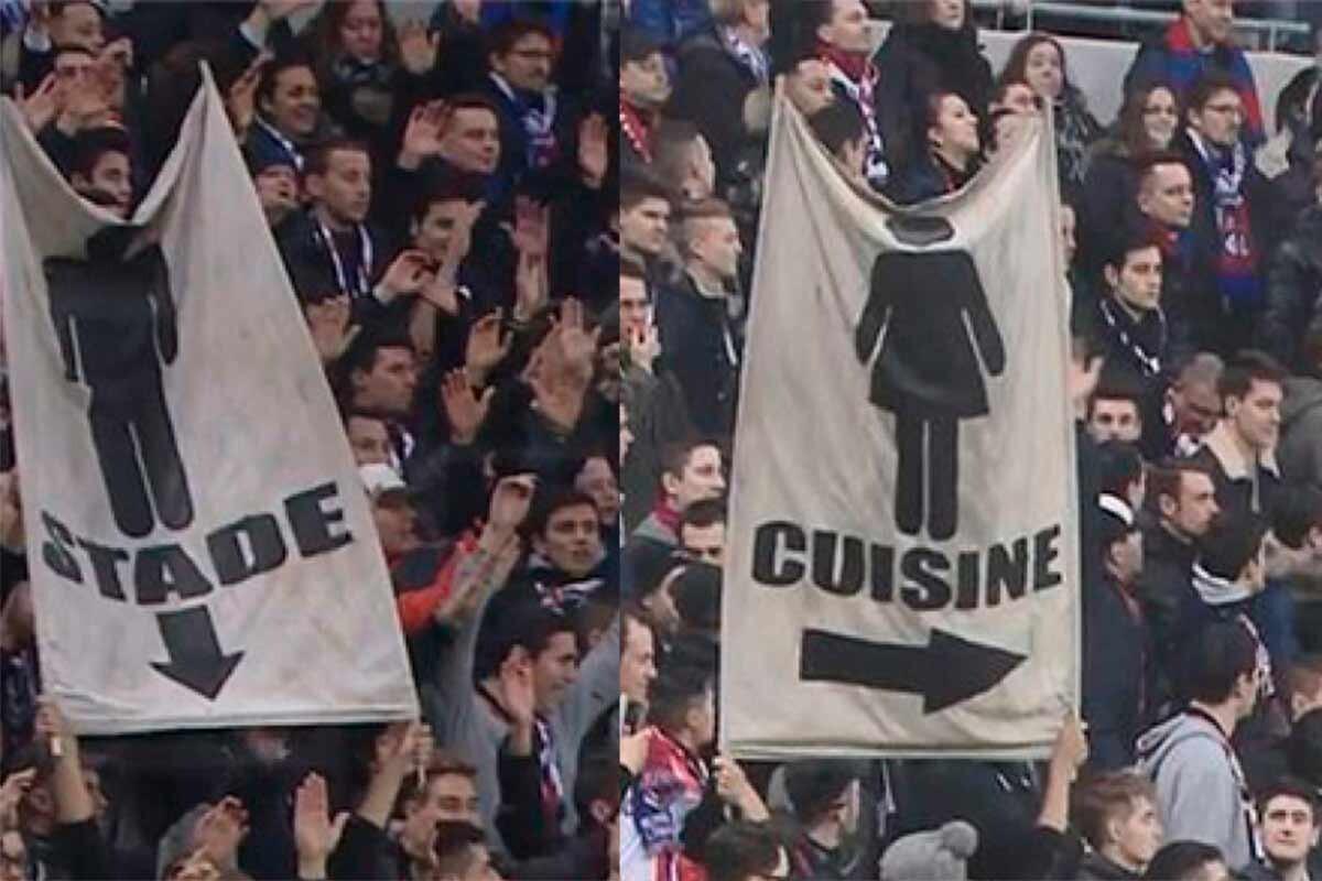 pancarta machista en Lyon