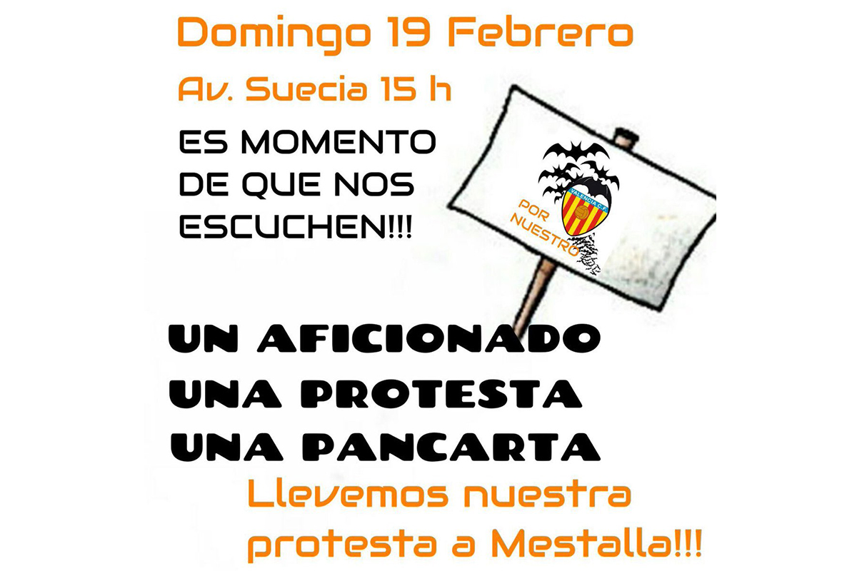 Cartel protesta Mestalla Valencia CF
