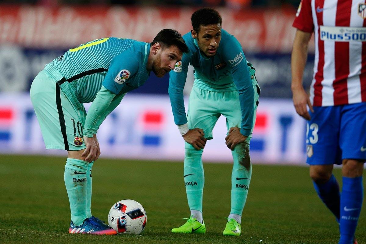 Neymar y Messi ante el Atlético