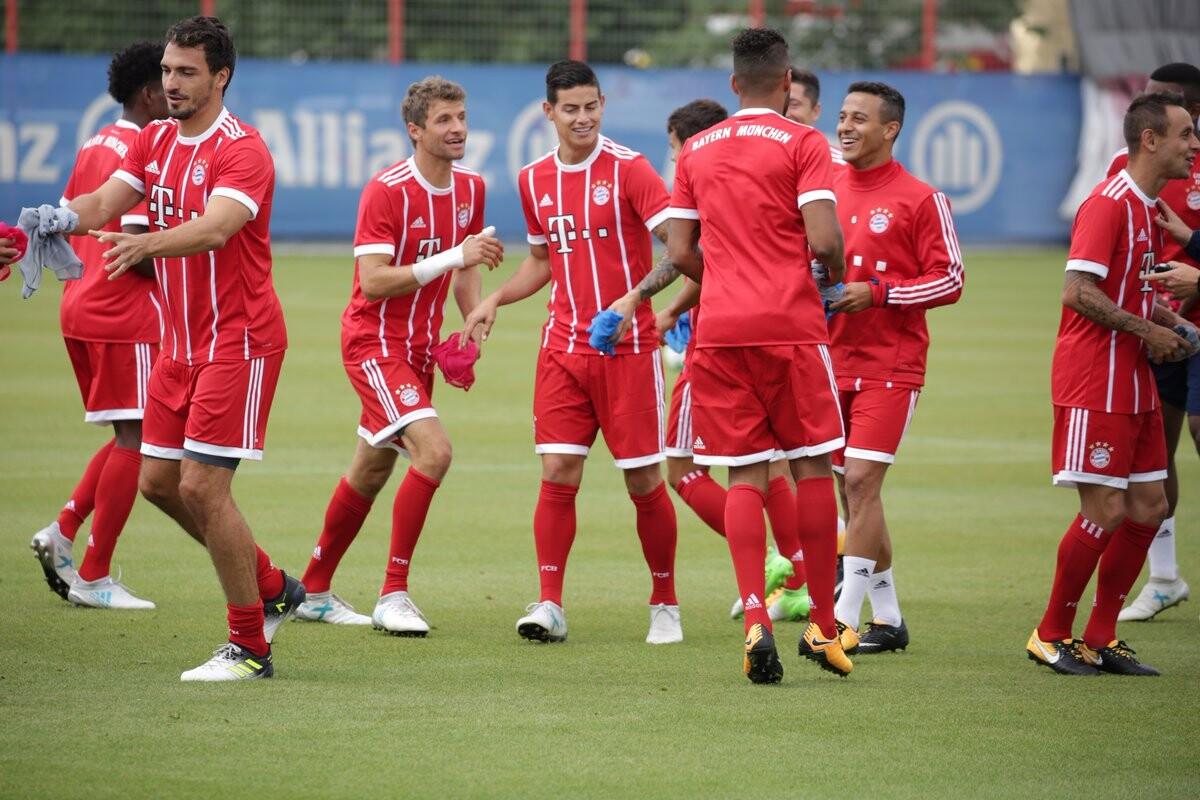 James entrenando con el Bayern Múnich
