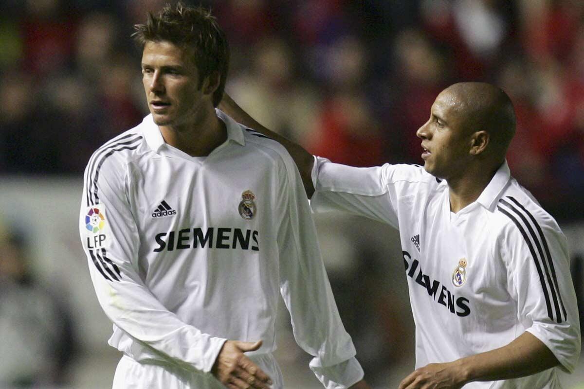 Beckham y Roberto Carlos, en el Real Madrid