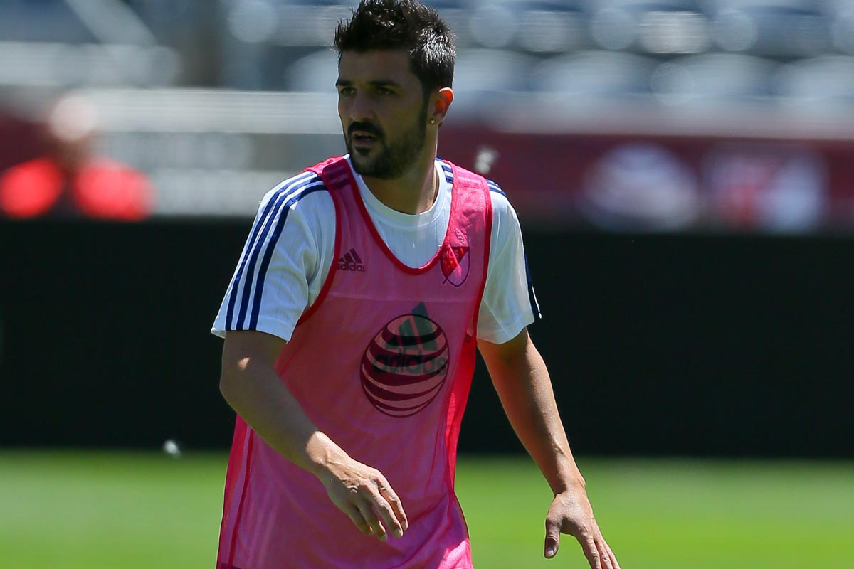 David Villa en un entrenamiento con New York City