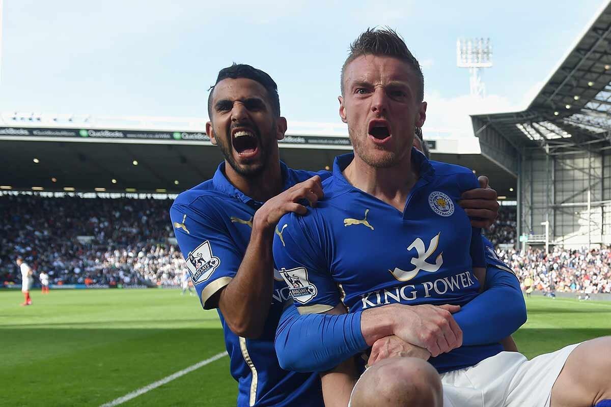 Jamie Vardy y Riyad Mahrez, del Leicester City