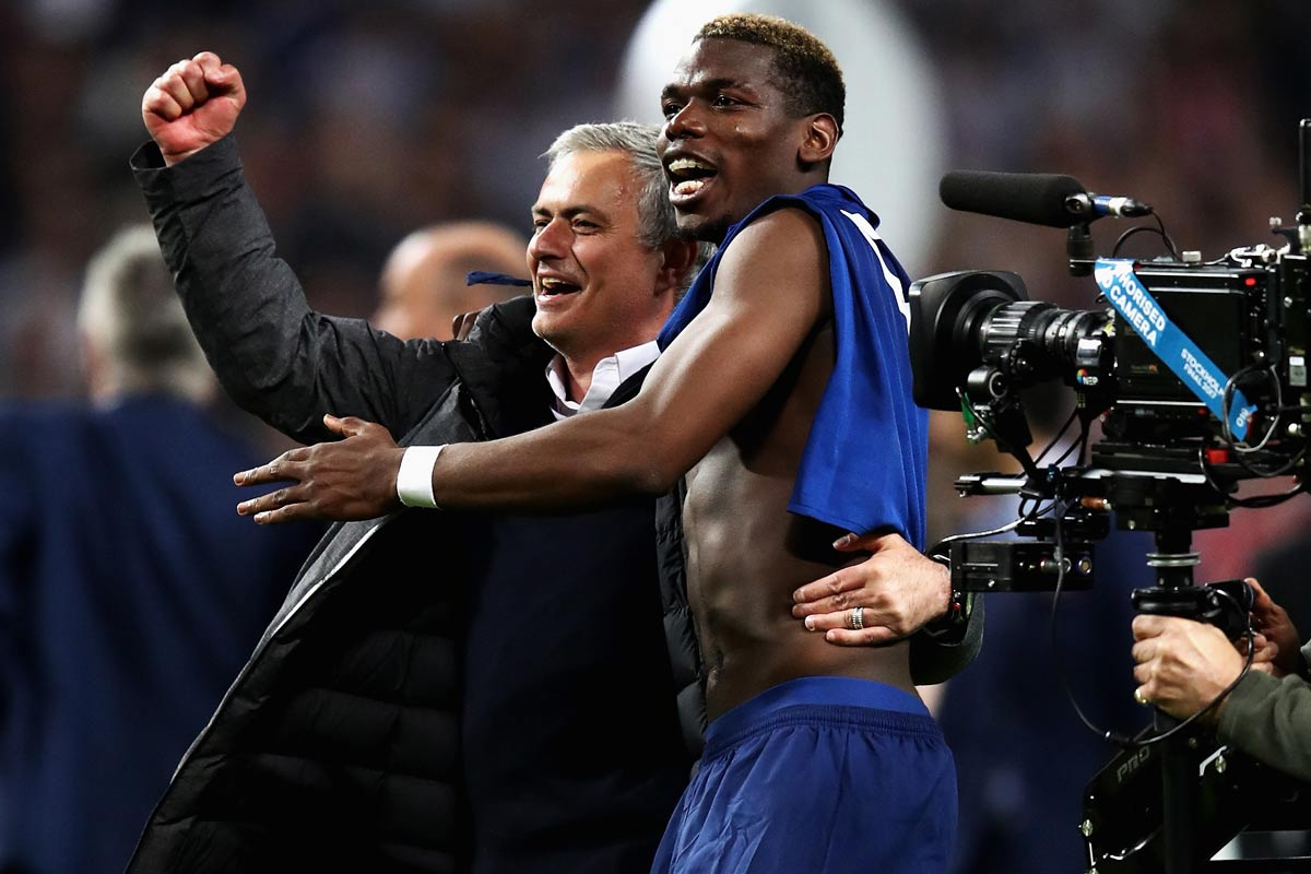 Paul Pogba y Jose Mourinho, Manchester United
