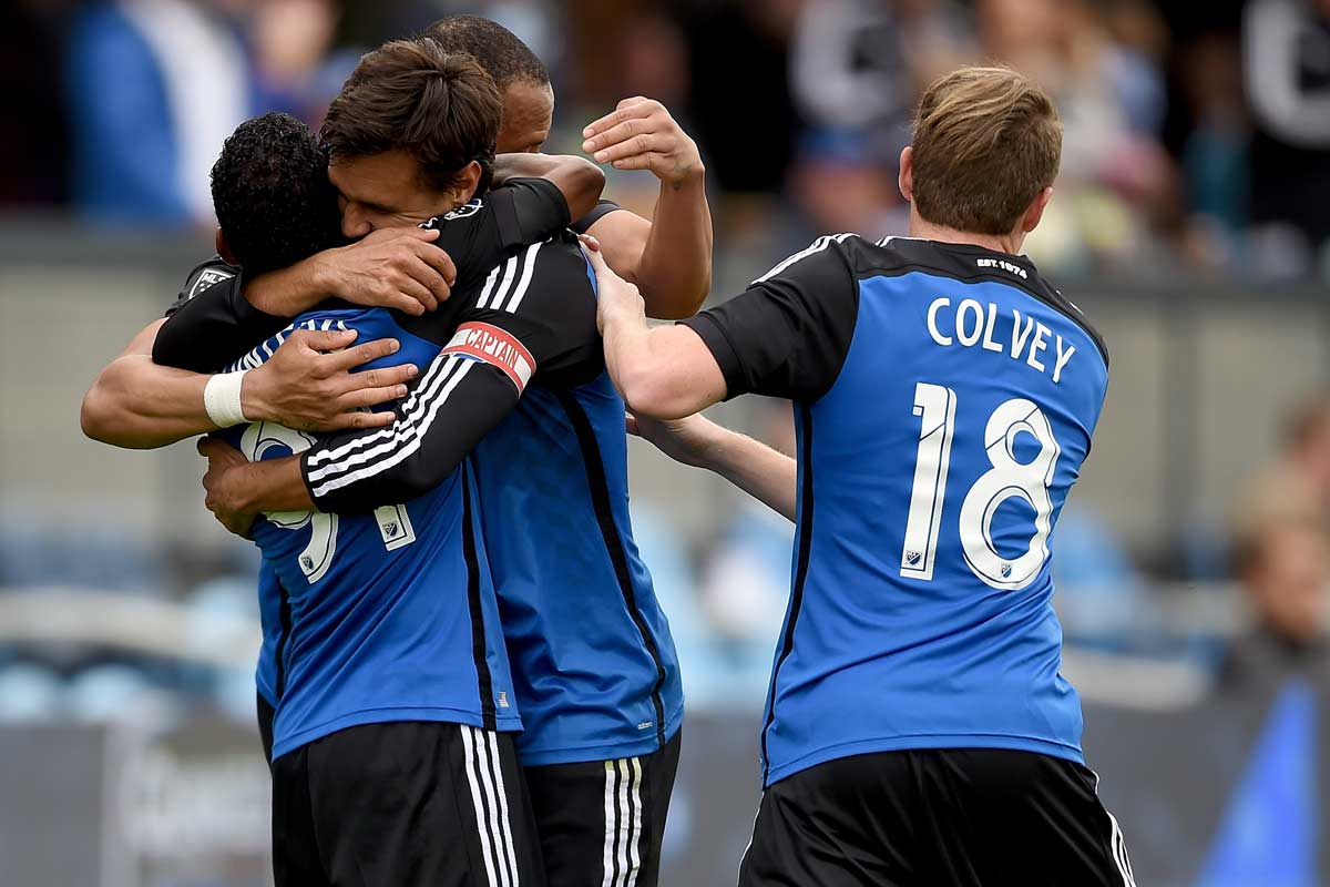 San Jose Earthquakes celebra un gol