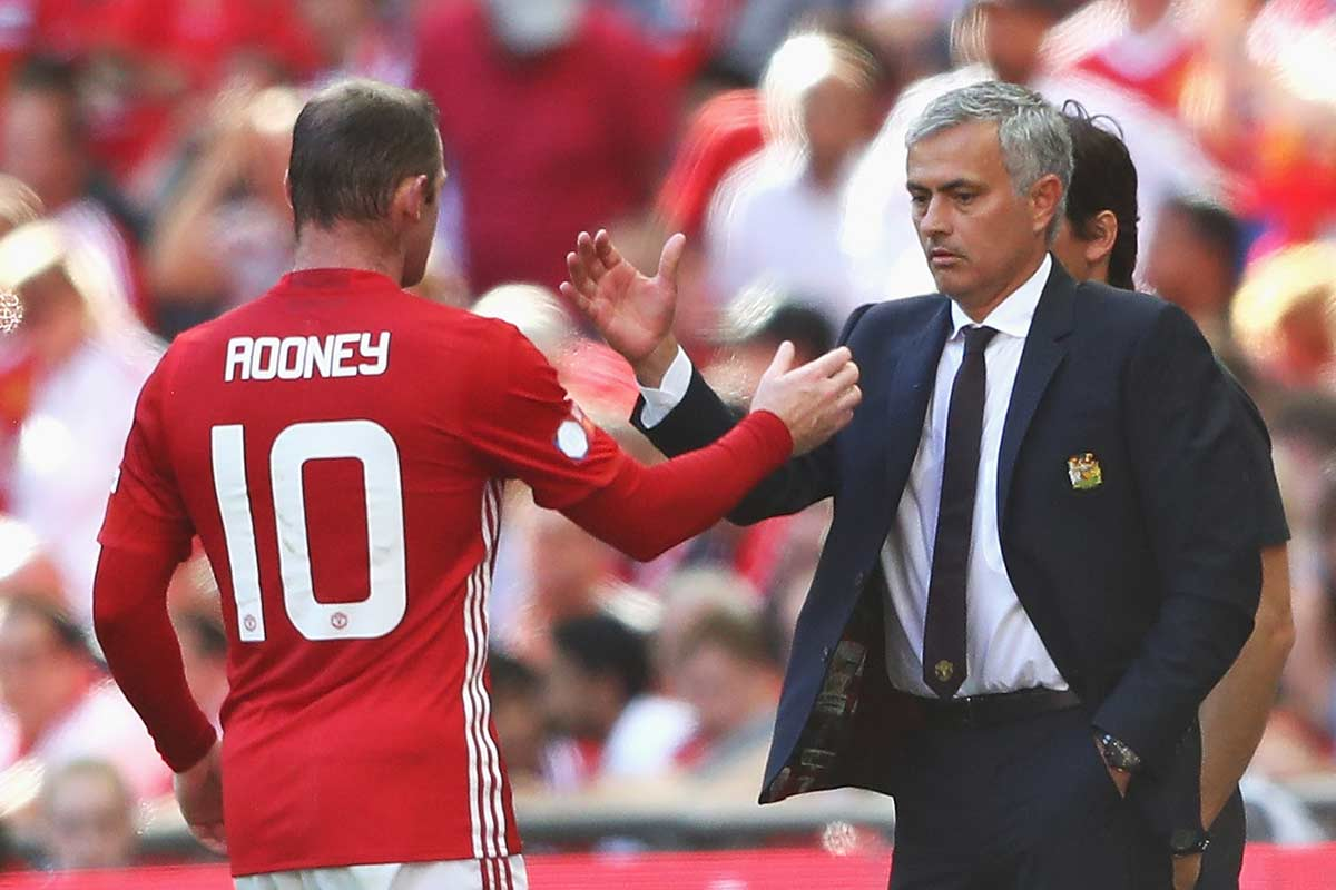 Wayne Rooney y Jose Mourinho, del Manchester United
