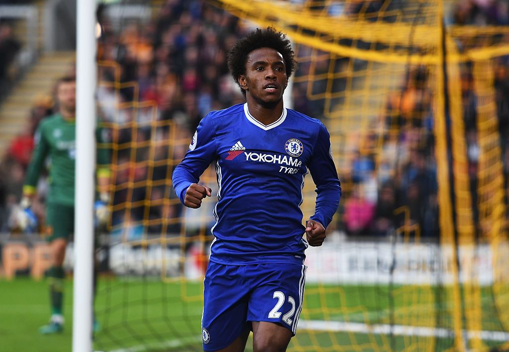 Willian celebrando con el Chelsea