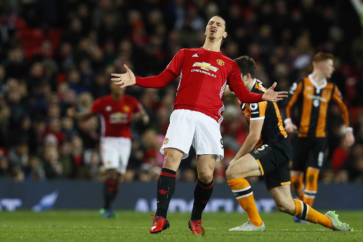 Zlatan Ibrahimovic, en un Manchester United vs Hull City