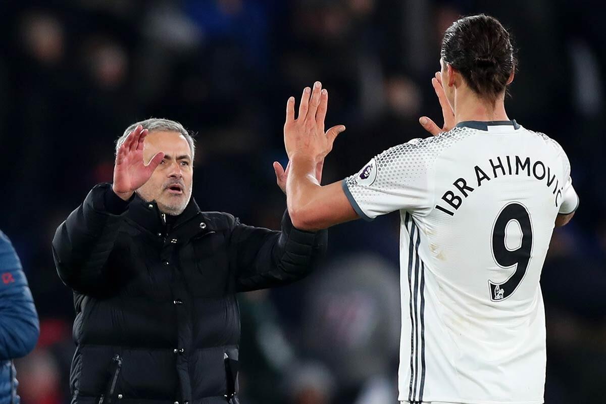 Zlatan Ibrahimovic y Jose Mourinho, del Manchester United