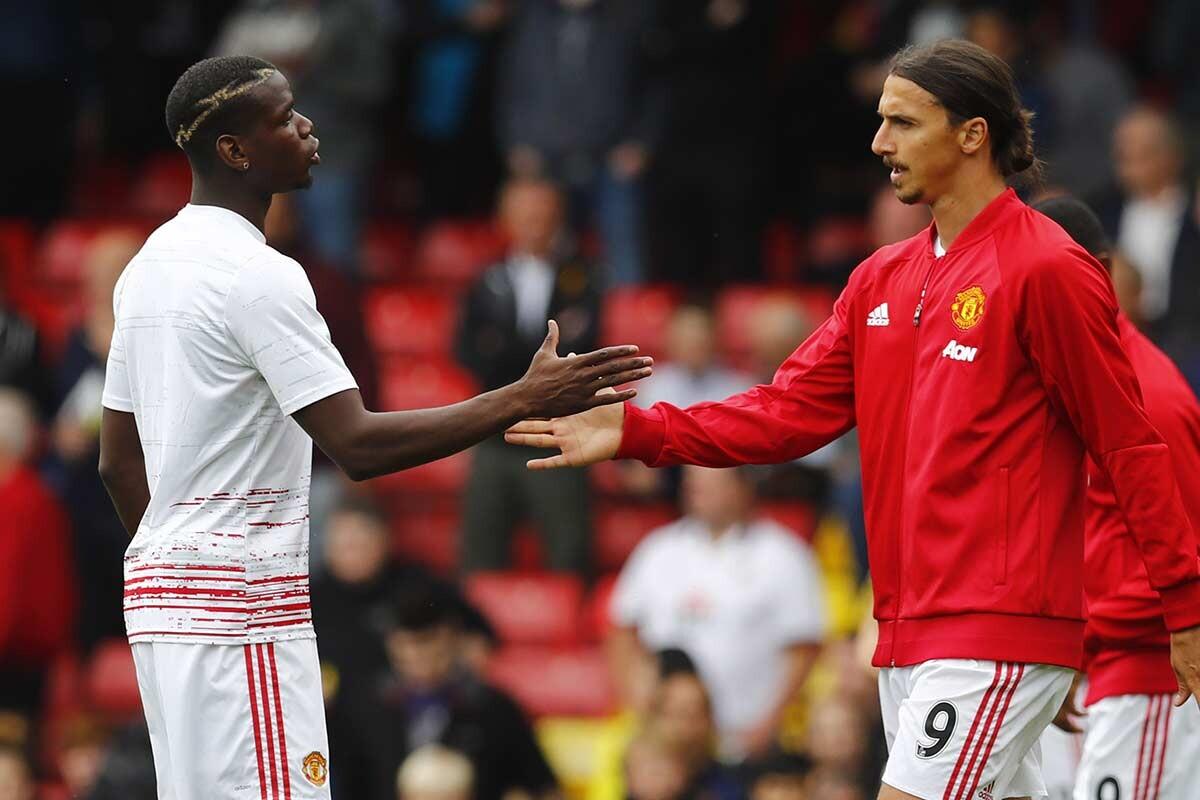 Zlatan Ibrahimovic y Paul Pogba, en el Manchester United