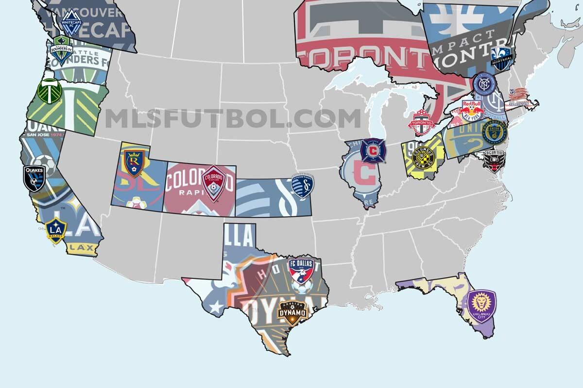 Mapa con todos los clubes que participan en la MLS