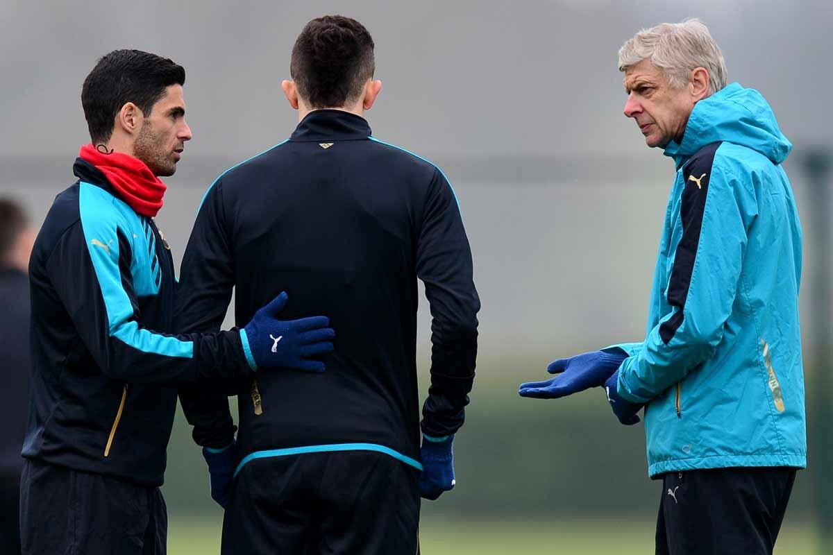 Mikel Arteta y Arsene Wenger