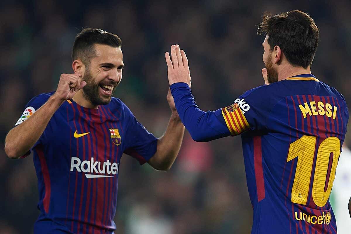 Jordi Alba y Leo Messi