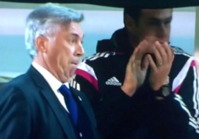 Ancelotti imita la celebración de Cristiano Ronaldo