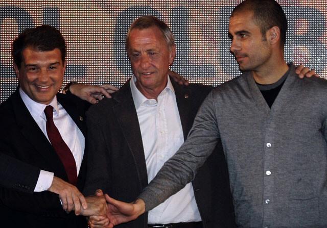 Johan Cruyff y Pep Guardiola