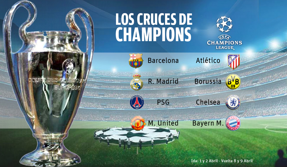 Sorteo cuartos de final de la champions league identi for Cuartos de final champions