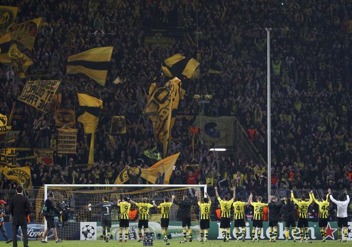 El Borussia Dortmund celebra su victoria sobre el Real Madrid