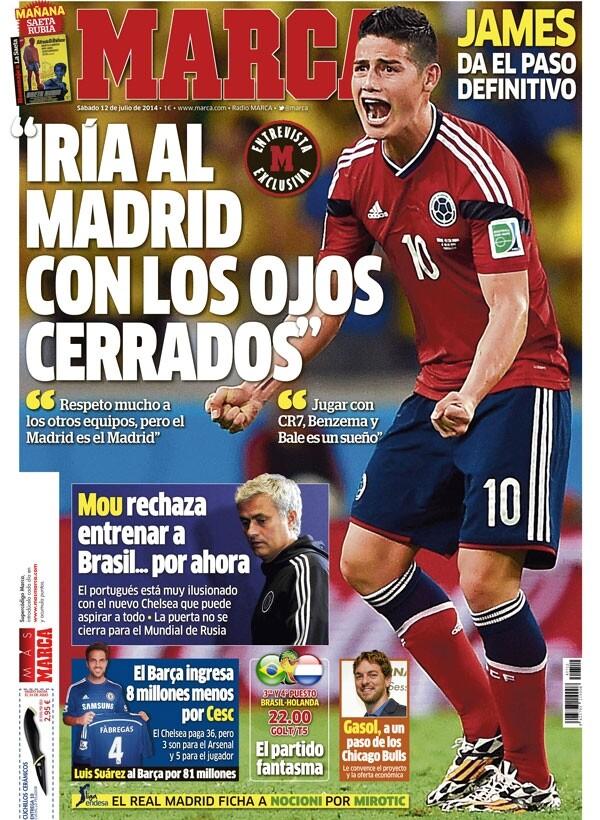 James Rodríguez: Iría al Madrid con los ojos cerrados
