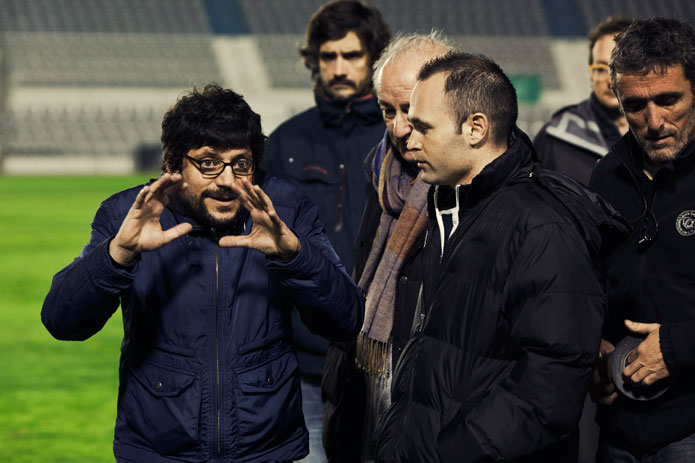 Actor Andres Iniesta being given direction for his cameo in Spanish film Who Killed Bambi?