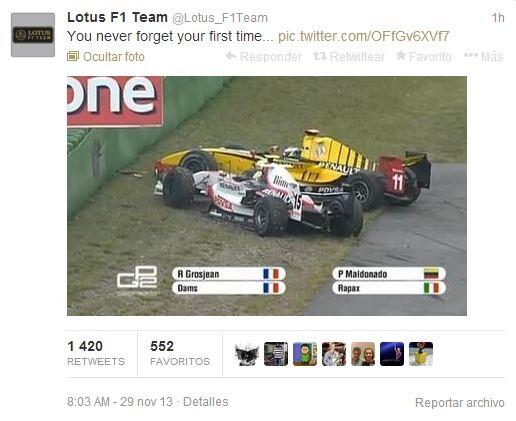 FOTO. El insólito tuit con el que Lotus da la bienvenida a Pastor Maldonado