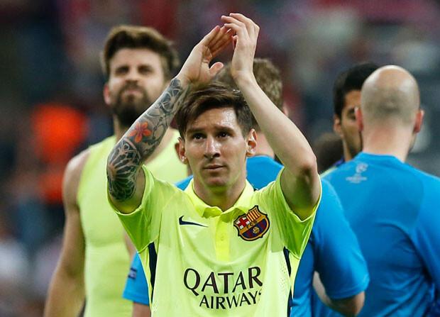 Messi, al acabar el partido en el Allianz