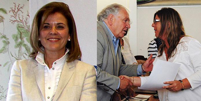 María Victoria Pavón, presidenta del CD Leganés, e Isabel Tarragó, de la UE Llagostera