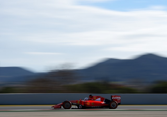 Sebastian Vettel en los test invernales de Barcelona