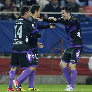 El Valladolid celebra el gol de Óscar