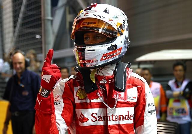 Sebastian Vettel tras conseguir la pole en el GP de Singapur