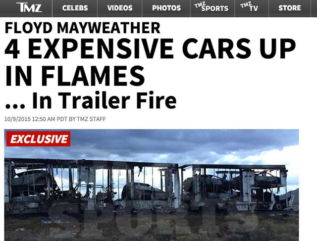 Así quedaron los coches de Floyd Mayweather, según TMZ