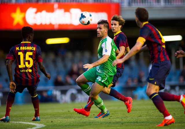 Macky Bagnack, durante un partido con el Barcelona B