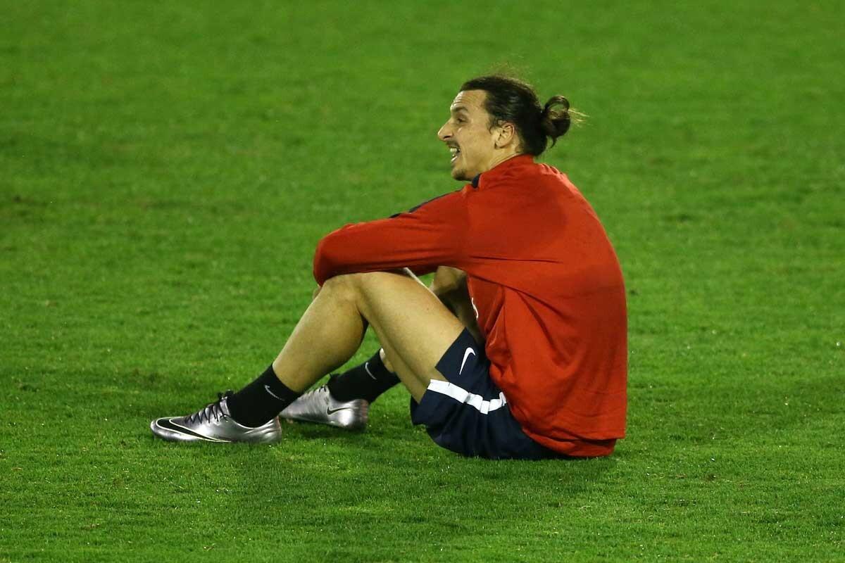 Zlatan Ibrahimovic, entrenando con el PSG