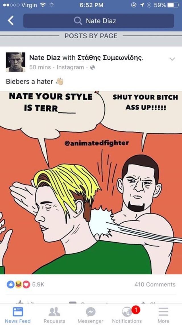 Nate Diaz responde a Justin Bieber con un meme