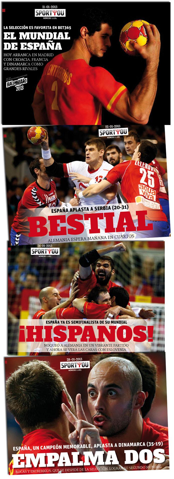 El Mundial de la Selección española de balonmano, a través de las portadas de Sportyou