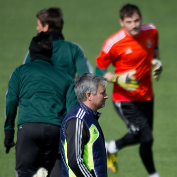 Mourinho y Casillas en un entrenamiento