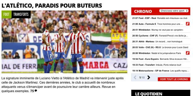 L'Equipe y los goleadores del Atlético