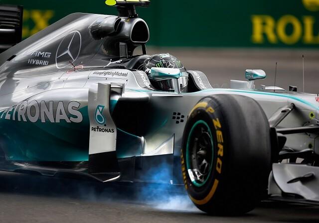Nico Rosberg frenando en el GP de Canadá de 2014
